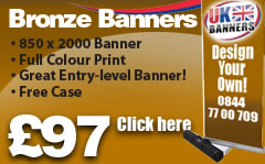 Bronxe roller banner, 850 x 2000 Banner, Full colour Print, Great entry level banner, Free case, Click here!