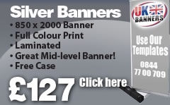 Silver Roller Banner. 850 x 2000 Banner, Full colour Print, Laminated, Great Mid level Banner, FREE case, click here!