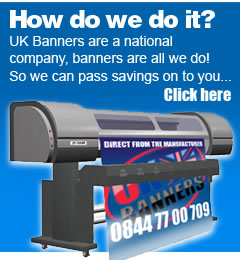 UK banners are a national company, banners are all we do! Click here to find out how.